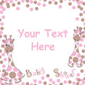 Baby shower card with cute baby giraffe on pink ball frame