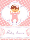 Baby shower card with cute baby girl Royalty Free Stock Images
