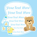 Baby shower card with cute bear and baby toys