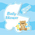 Baby shower card with cute bear on blue frame