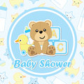 Baby shower card with cute bear and toys on colorful background