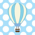 Baby shower card with cute hot air balloon on blue background Royalty Free Stock Photo