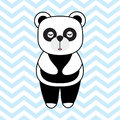 Baby Shower card with cute panda on chevron background