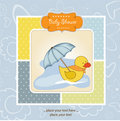 Baby shower card with duck Royalty Free Stock Image