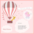 Baby shower card girl,air balloon with stroller Royalty Free Stock Photo