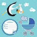 Baby shower card invitation scrapbook with stork and asian boy flying newborn label copy space carriage in polka dot Royalty Free Stock Photo