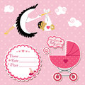 Baby shower card invitation scrapbook with stork and asian girl flying newborn label copy space carriage in polka dot Royalty Free Stock Image