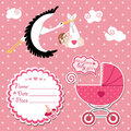 Baby shower card invitation scrapbook with stork and european gi flying newborn girl label copy space carriage in polka Stock Images