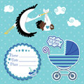 Baby shower card invitation scrapbook with stork and mulatto boy flying newborn label copy space carriage in polka dot Royalty Free Stock Photography
