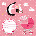 Baby shower card invitation scrapbook with stork and mulatto gir flying newborn girl label copy space carriage in polka dot Stock Image