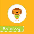 Baby shower card with lion its a boy vector illustration Stock Photography
