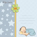 Baby shower card with little baby boy Stock Photos