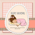 Baby shower card with little baby girl Stock Images