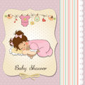 Baby shower card with little baby girl play with her teddy bear Royalty Free Stock Photography