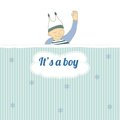 Baby shower card with little boy sleep Royalty Free Stock Image