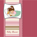 Baby shower card with little girl Royalty Free Stock Photos