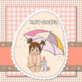 Baby shower card with little girl Stock Photography