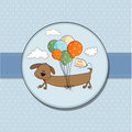 Baby shower card with long dog Royalty Free Stock Photo