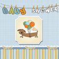 Baby shower card with long dog Stock Photo