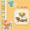 Baby shower card with long dog Stock Photography