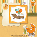 Baby shower card with long dog Royalty Free Stock Images