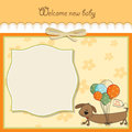 Baby shower card with long dog Royalty Free Stock Image