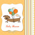 Baby shower card with long dog and balloons Stock Images