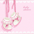 Baby shower card with pink booties and lace Stock Photography