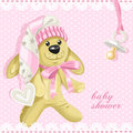 Baby shower card with pink soft toy rabbit and babys dummy Royalty Free Stock Photo
