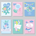 Baby shower card set for boy for girl Happy birthday party it's a boy it's a girl Newborn toddler celebration greeting or Royalty Free Stock Photo