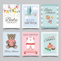 Baby shower card set for boy for girl Happy birthday party its a boy its a girl invitation card poster vector Royalty Free Stock Photo