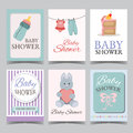 Baby shower card set for boy for girl Happy birthday party its a boy its a girl invitation card poster vector