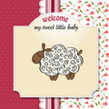 Baby shower card with sheep Stock Photo