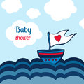 Baby shower card with ship, sea and clouds design. Vector kids toys illustration