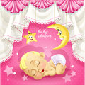 Baby shower card with sweet sleeping newborn baby Stock Images