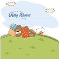 Baby shower card with teddy bear illustration Royalty Free Stock Photography
