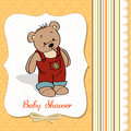 Baby shower card with teddy bear toy Royalty Free Stock Photos
