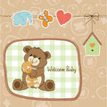 Baby shower card with teddy bear toy vector illustration Stock Photo