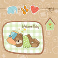 Baby shower card with teddy bear toy vector illustration Stock Photography