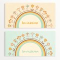 Baby shower cards invitation with flowers eps vector illustration Royalty Free Stock Photos