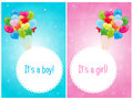 Baby shower cards set of two with colorful balloons for boys and girls eps file available Royalty Free Stock Image