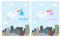 Baby shower cards set of two with stork flying over the city for boys and girls eps file available Royalty Free Stock Photo
