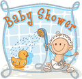 Baby shower cartoon invitation vector of a showering his rubber ducky ai vector file included Stock Photos