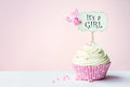Baby shower cupcake with copy space to side Royalty Free Stock Photos