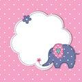 Baby shower with cute cartoon elephant