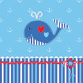 Baby shower with cute whale Royalty Free Stock Photo
