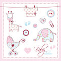 Baby shower design elements Royalty Free Stock Image