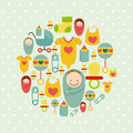 Baby shower design icons over dotted background vector illustration Royalty Free Stock Photos
