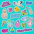 Baby Shower Doodle with Newborn, Toys and Stork. Party Decoration Stickers, Badges and Patches