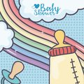 Baby shower feeding bottle pacifier rainbow clouds dots background